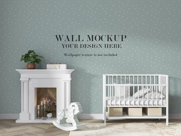 Wandmodel achter wit babybed met minimalistisch meubilair Premium Psd