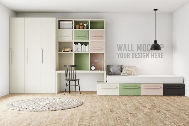 Wandmodel kinderkamer slaapkamer met decoraties Premium Psd