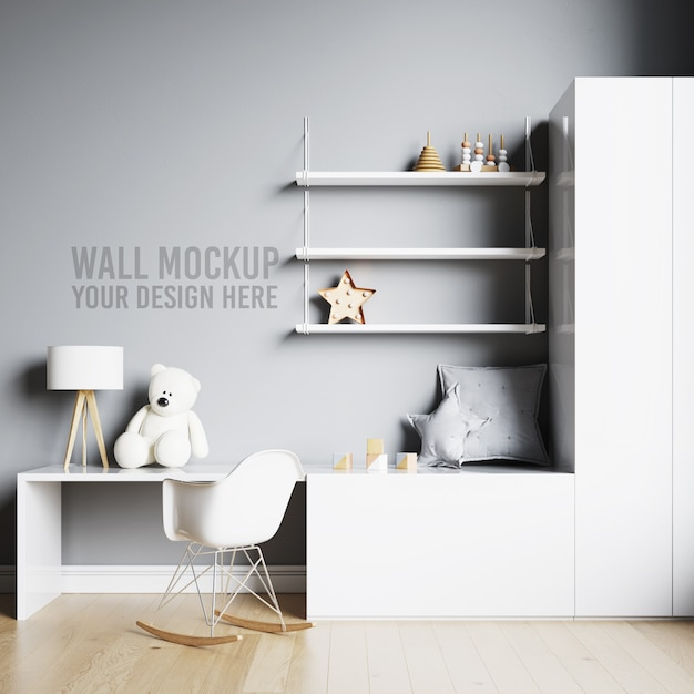 Wandmodel kinderkamer speelkamer met decoraties Premium Psd