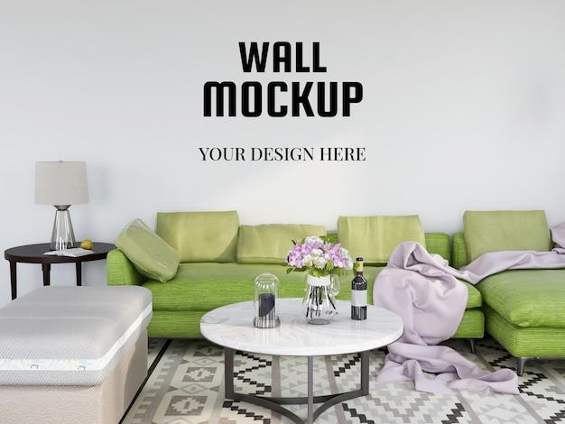 Wandmodel realistisch in de moderne woonkamer Premium Psd