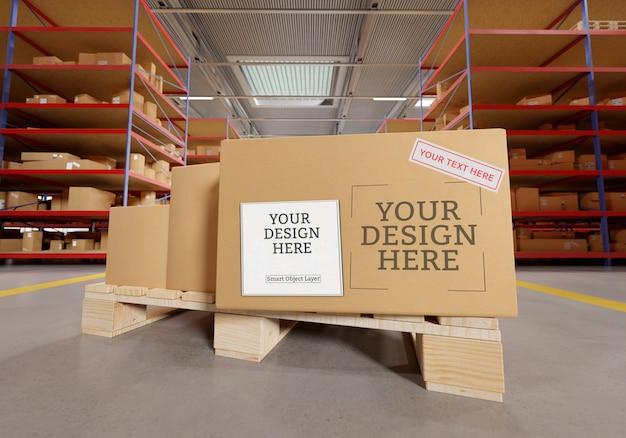 Warehouse cardboard box mockup Premium Psd