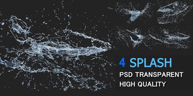 Water splash met druppels pack ontwerp geïsoleerd Premium Psd