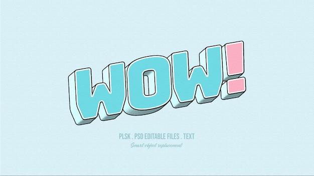 Wauw! 3d-tekststijleffect Premium Psd