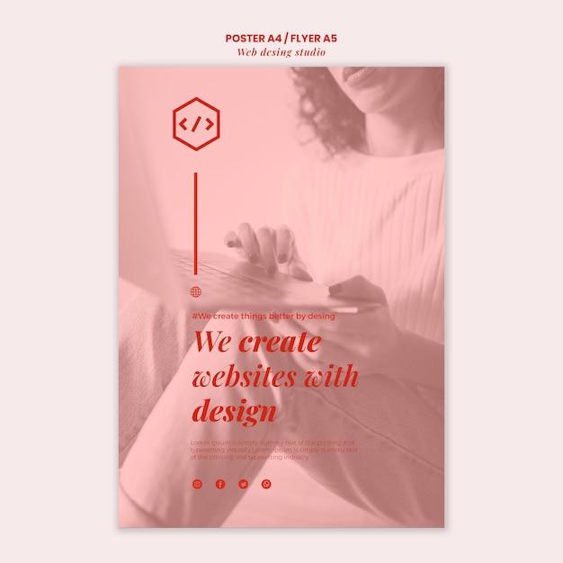 Web studio ontwerpsjabloon folder Gratis Psd