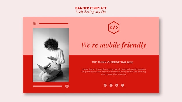 Web studio ontwerpsjabloon voor spandoek Gratis Psd