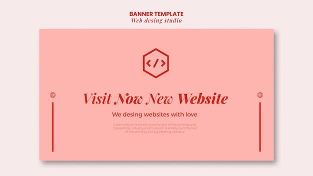 Web studio ontwerpsjabloon voor spandoek Premium Psd