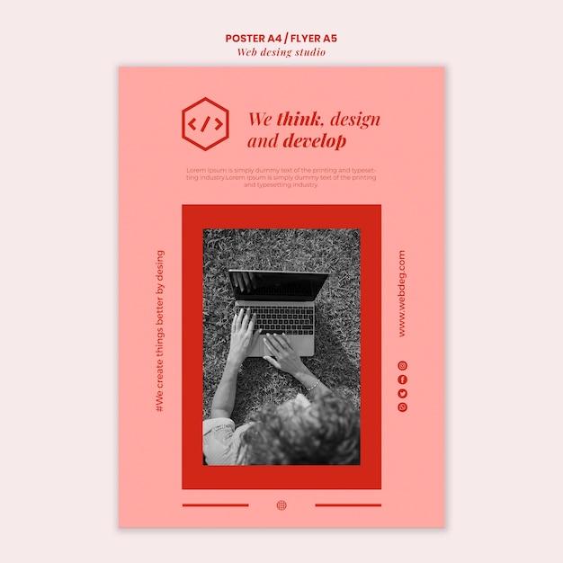 Web studio poster ontwerpsjabloon Gratis Psd
