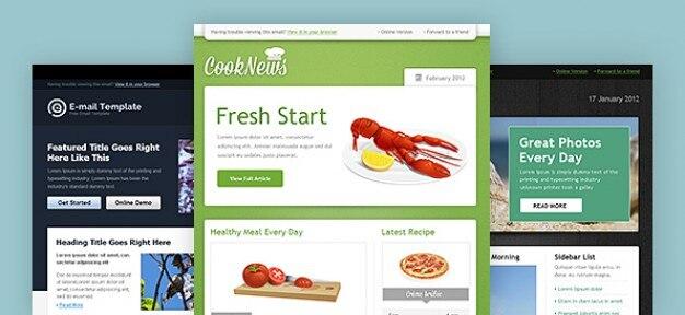 Web template newsletter pacchetto psd Psd Gratuite
