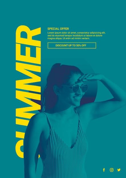 Webbanner sjabloon met zomer concept Gratis Psd