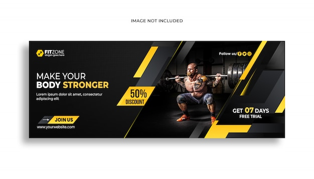 Webbanner sjabloon voor gym fitness psd premium sjabloon Premium Psd