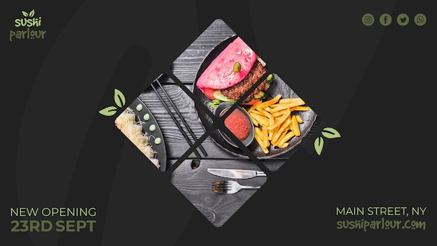 Webbanner sjabloon voor japans restaurant Gratis Psd