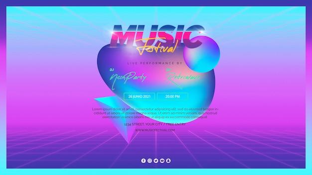 Webbannermalplaatje voor muziekfestival van de jaren 80 Gratis Psd