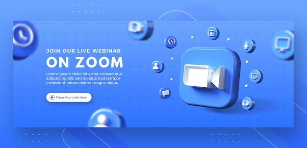 Webinar-paginapromotie met 3d-render zoomlogo voor facebook-omslagsjabloon Premium Psd