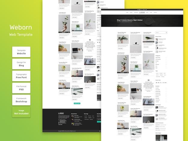 Weborn persoonlijke blog categorie pagina websjabloon Premium Psd
