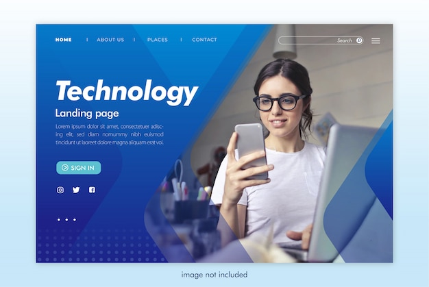 Website landingspagina technologie technologie Premium Psd