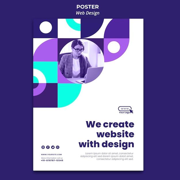 Website maken met poster ontwerpsjabloon Gratis Psd