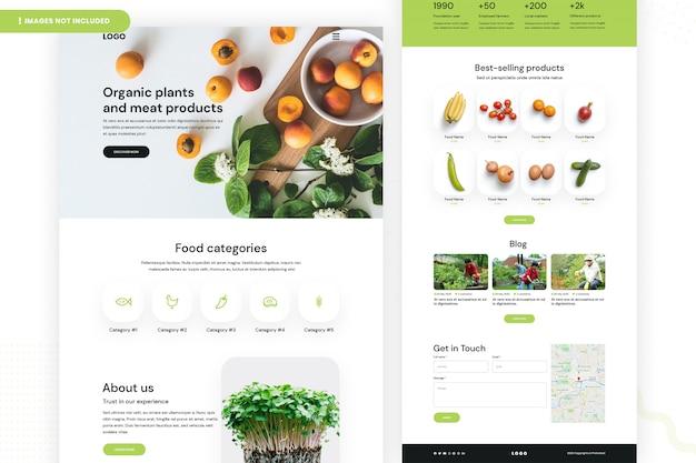 Website-pagina over biologische producten Premium Psd