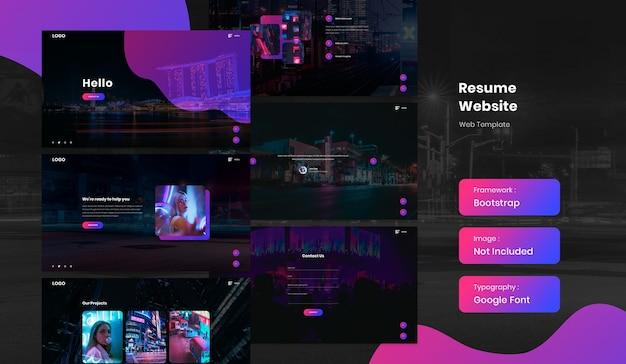 Website-sjabloon voor hervatten en portfolio Premium Psd