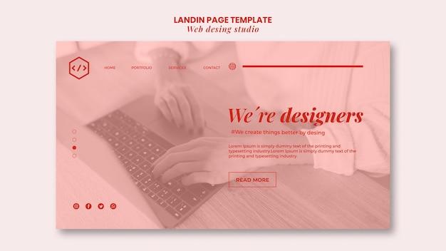 Webstudio ontwerp bestemmingspagina sjabloon Gratis Psd