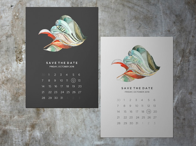 Wedding save the date, one faced abstract themakaart Premium Psd