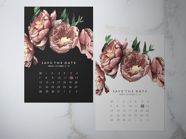 Wedding save the date, one faced flower red peony themakaart Premium Psd