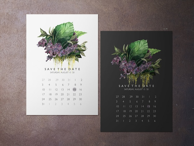 Wedding save the date, one faced purple flower themakaart Premium Psd