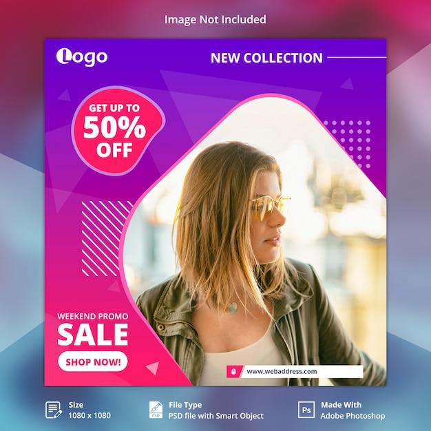 Weekend promo verkoopaanbieding sociale media banner Premium Psd