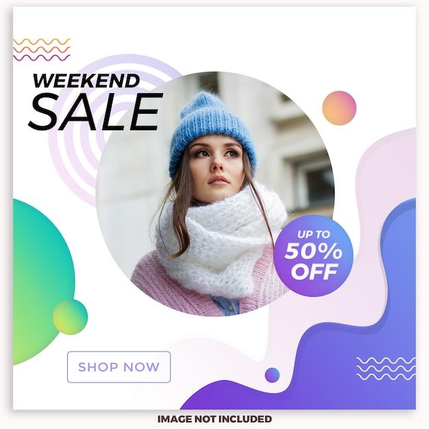 Weekend verkoop sociale media post sjabloon Premium Psd