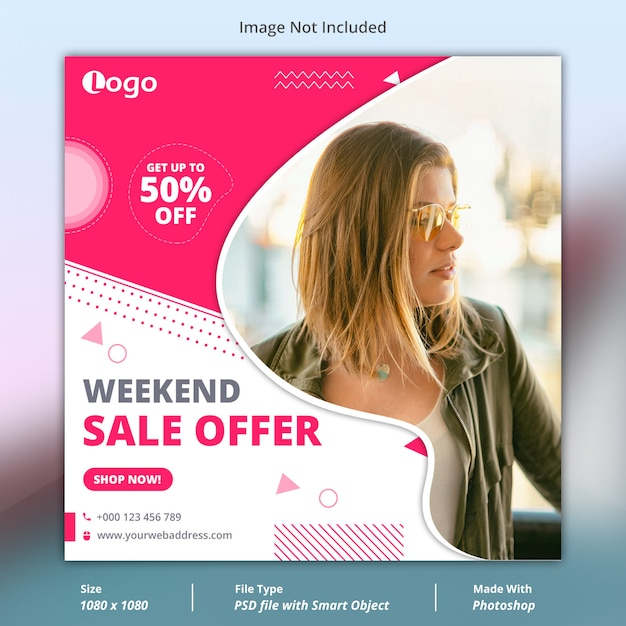 Weekend verkoop sociale media sjabloon voor spandoek Premium Psd