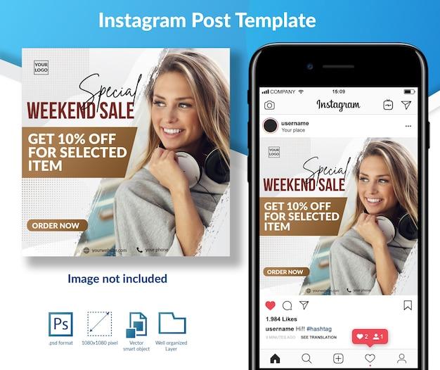 Weekendaanbieding aanbieding social media berichtsjabloon Premium Psd