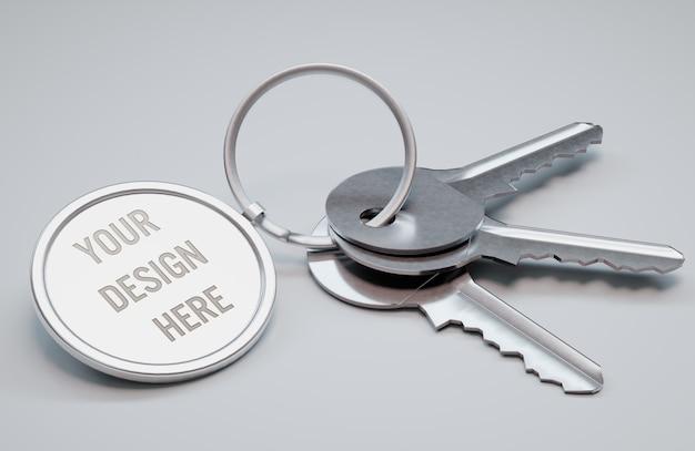 Weergave van een circle key ring mockup Premium Psd
