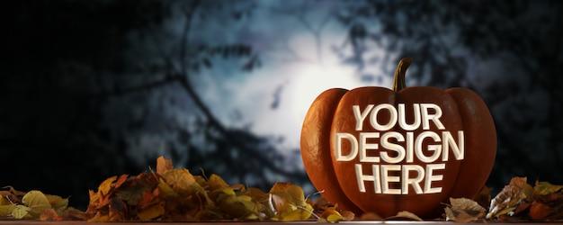 Weergave van een halloween-pompoenmodel op een nachtscène Premium Psd