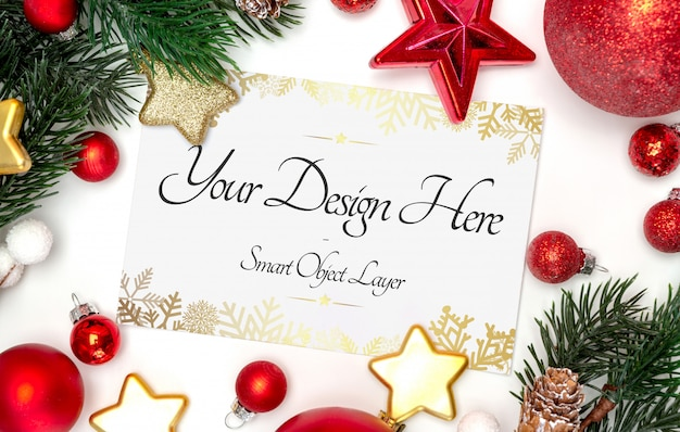 Weergave van een kerstkaart en decoratiemodel Premium Psd