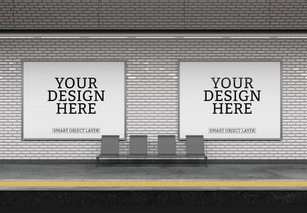 Weergave van een subway billboard mockup Premium Psd