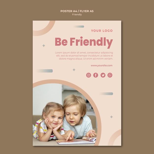 Wees een vriendelijke flyer-afdruksjabloon Gratis Psd