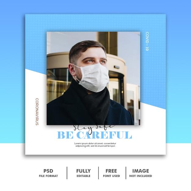 Wees voorzichtig social media post-sjabloon instagram, blue man coronavirus Premium Psd