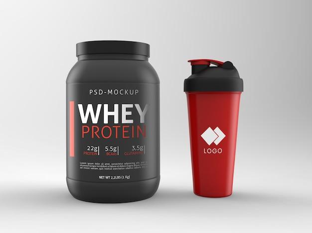 Wei-eiwit fles mockup Premium Psd