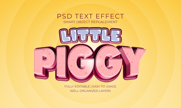 Weinig piggy teksteffect Premium Psd