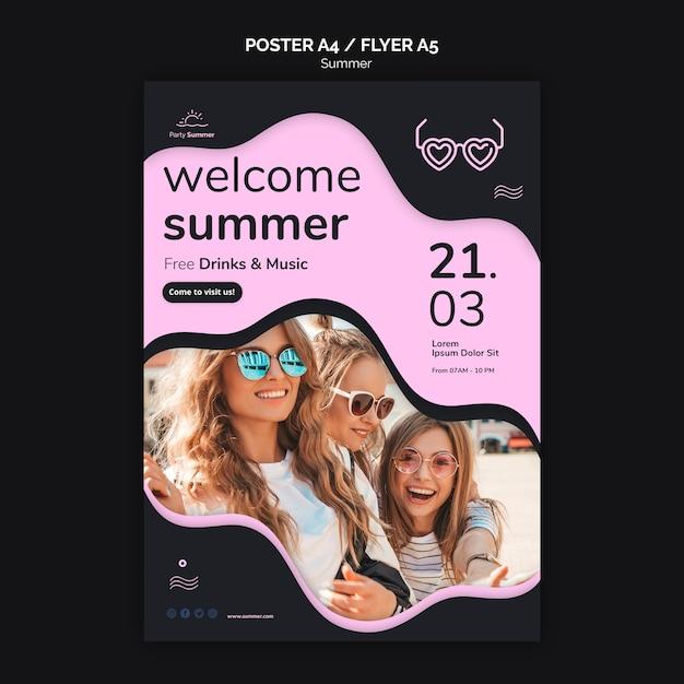 Welkom zomer poster sjabloon Gratis Psd