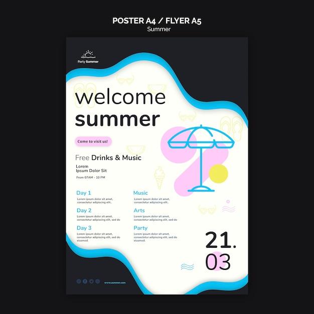 Welkom zomerfeest poster sjabloon Gratis Psd