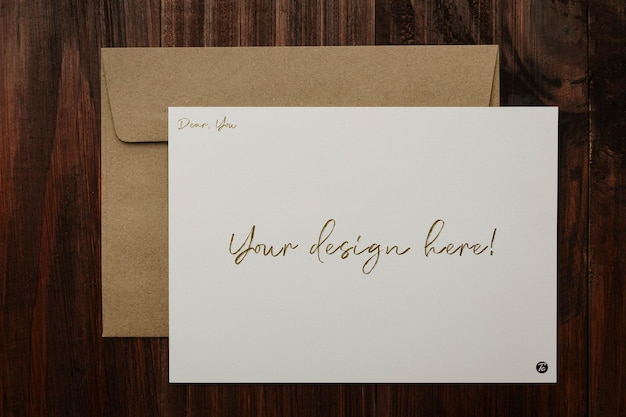 Wenskaart en envelop mockup ontwerp Premium Psd