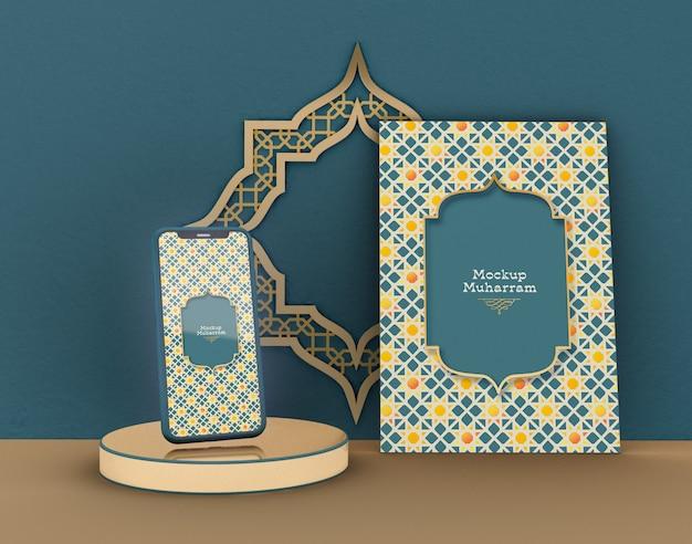 Wenskaart met smartphone mockup. eid mubarak. viering van de moslimgemeenschap. Premium Psd