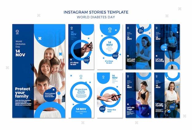 Wereld diabetes dag instagram verhalen sjabloon Premium Psd