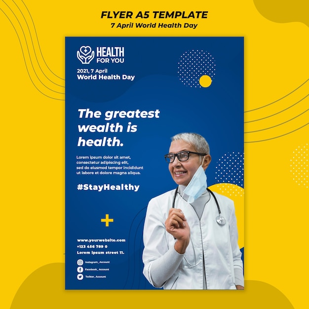 Wereldgezondheidsdag folder sjabloon Gratis Psd