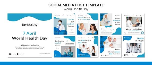 Wereldgezondheidsdag sociale media-berichten ingesteld Premium Psd
