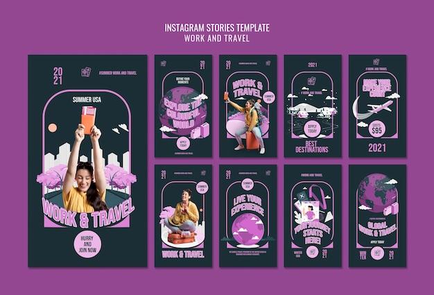 Werk en reis instagram verhalen sjabloon Gratis Psd