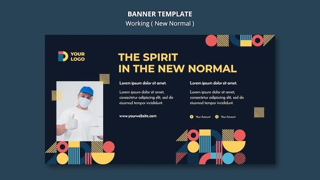 Werken op de nieuwe normale manier horizontale bannermalplaatje Gratis Psd
