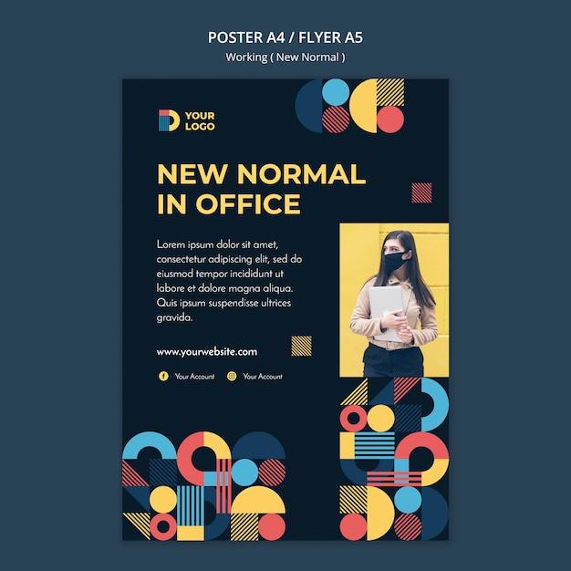 Werken op de nieuwe normale manier postersjabloon met foto Gratis Psd