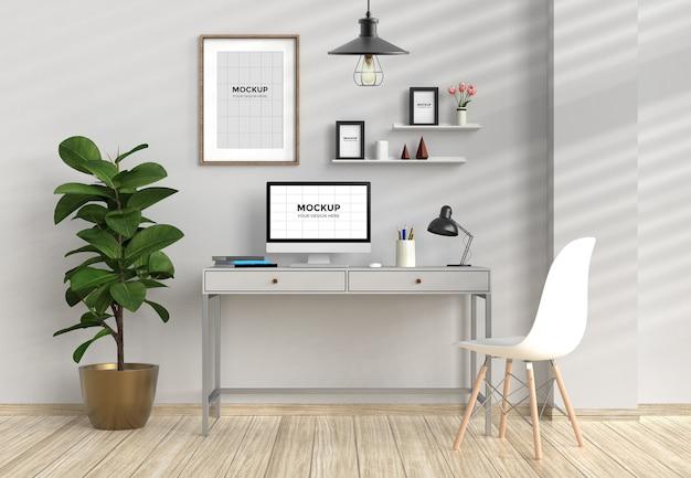 Werkruimte in interieur met computer en frames mockup Premium Psd
