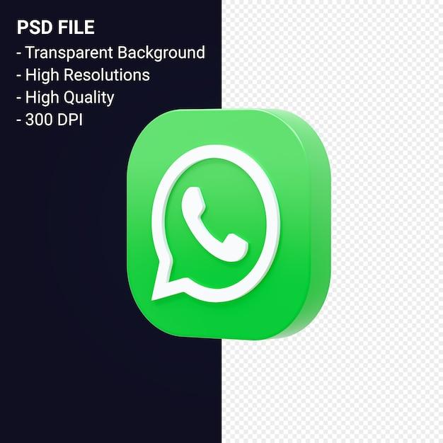 Whatsapp logo 3d-rendering geïsoleerd Premium Psd